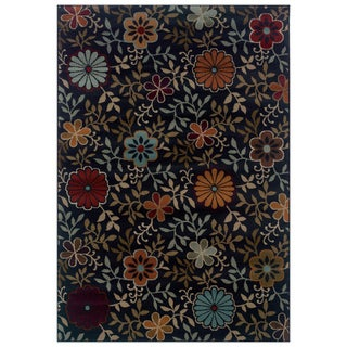 Floral Blue/ Multi Area Rug (3'10 x 5'5)