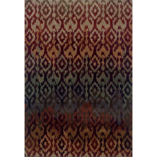 Ikat Design Red/ Multi Rug (3'10 x 5'5)