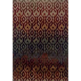 Ikat Design Red/ Multi Rug (3'10 x 5'5)