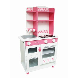 World Trump Pink and White Wood Kitchen