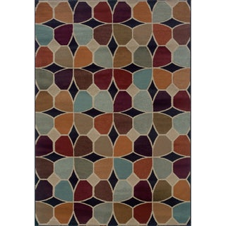 Geometric Grey/ Multicolored Area Rug (5'3 x 7'6)
