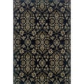 Traditional Floral Navy and Grey Area Rug (1'11 x 3'3)