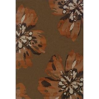Floral Brown/ Orange Area Rug (5'3 x 7'6)