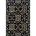 Traditional Floral Navy and Grey Polypropylene Rug (5'3 x 7'6)