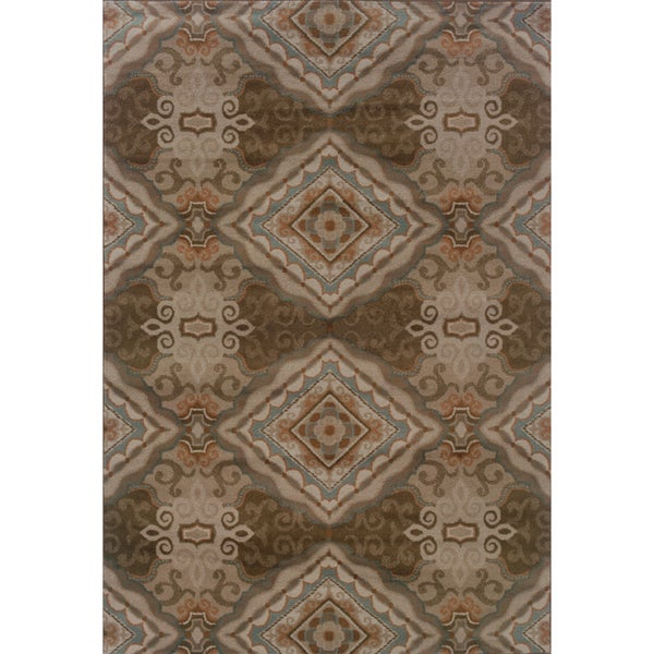 Elegant Diamond Grey/ Brown Area Rug (7'10 x 10'10)