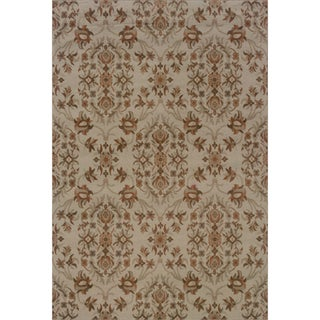 Floral Grey/ Orange Area Rug (5'3 x 7'6)