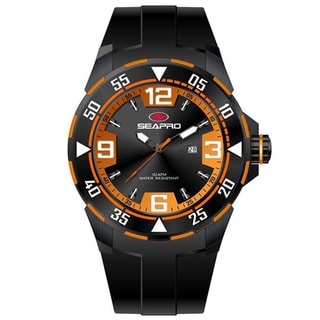 Seapro Men's 'Drive' Black/ Orange Watch