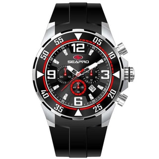 Seapro Men's 'Drive' Black/ Red Chronograph Watch