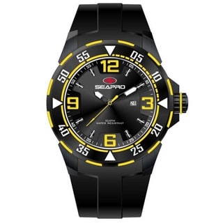 Seapro Men's 'Drive' Black/ Yellow Watch