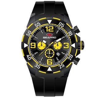 Seapro Men's 'Drive' Black/ Yellow Chronograph Watch