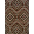 Oriental Green/ Plum Area Rug (3'10 x 5'5)