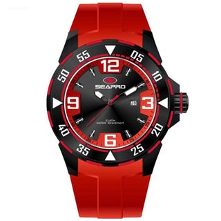 Seapro Men's 'Drive' Black/ Red Watch
