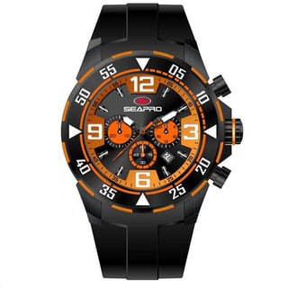 Seapro Men's 'Drive' Black/ Orange Chronograph Watch