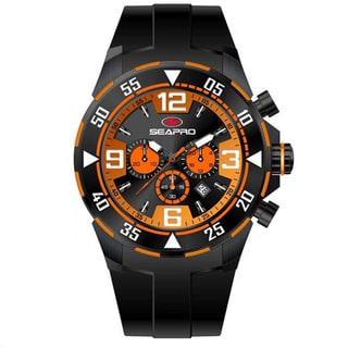 Seapro Men's 'Drive' Black/ Orange Chronograph Watch