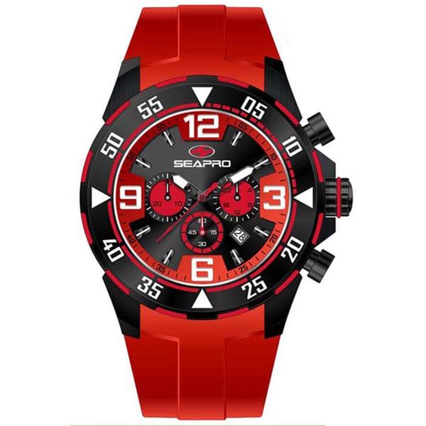 Seapro Men's 'Drive' Black/ Red Silicone Strap Chronograph Watch 11246855