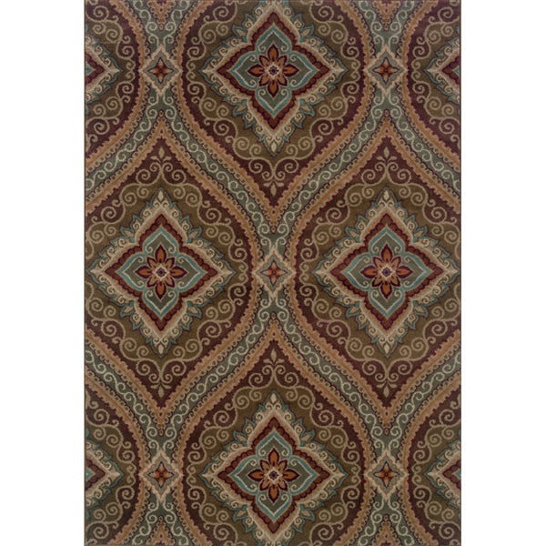 Oriental Green/ Plum Area Rug (9'10 x 12'9)