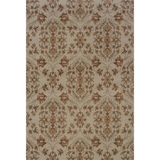 Floral Grey/ Orange Area Rug (6'7 x 9'6)