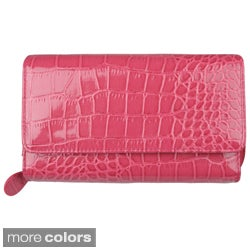 Mundi Women's Croc Print Checkbook Clutch Wallet