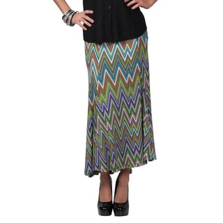 Tressa Collection Women's Elastic Waist Flare Panel Chevron Print Skirt