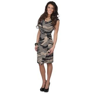 Tressa Collection Women's Pullover Cap-Sleeve Cowl-Neck Dress