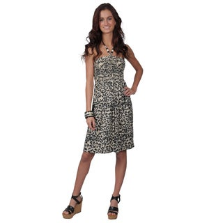 Journee Collection Women's Beaded Halter Tie Smocked Bodice Dress