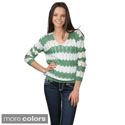 Journee Collection Women's Chevron Print V-neck Sweater