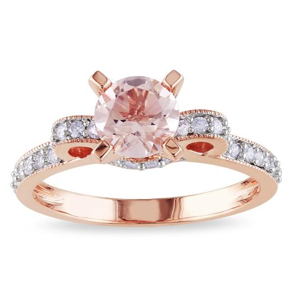 Miadora 14k Rose Gold Morganite and 1/4ct TDW Diamond Ring (G-H, I1-I2)