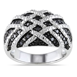 Haylee Jewels Sterling Silver 1/2ct TDW Black Diamond Ring