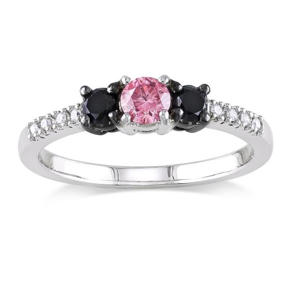 Miadora 10k White Gold 1/2ct TDW Diamond 3-stone Engagement Ring (H-I, I2-I3)
