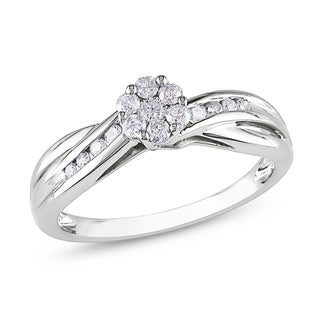 Miadora 10k White Gold 1/3ct TDW Multi Stone Round Cut Diamond Ring (H-I, I2-I3)