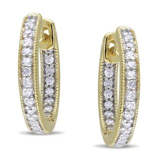Miadora 14k Yellow Gold 1/4ct TDW Diamond Hoop Earrings (G-H, I1-I2)