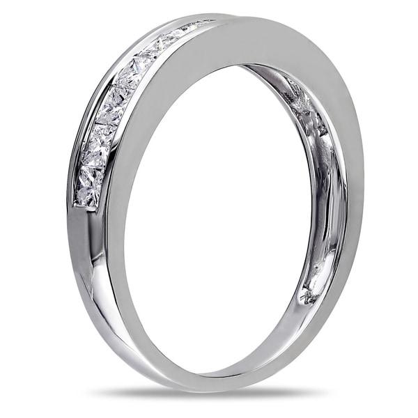 Miadora 14k White Gold 3/4ct TDW Princess-cut Diamond Anniversary-style Stackable Wedding Ring (G-H, I2-I3)