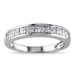 Miadora 14k White Gold 3/4ct TDW Princess-cut Diamond Anniversary-style Stackable Wedding Ring (G-H, I2-I3)