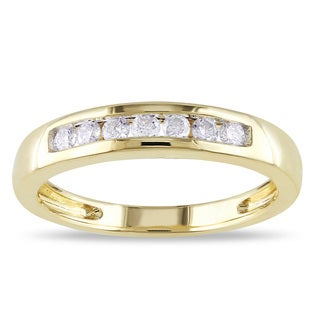 Miadora 14k Yellow Gold 1/4ct Certified TDW Diamond Wedding Band (G-H, I1-I2)
