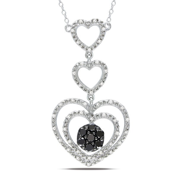 Haylee Jewels Silver 1/2ct TDW Black and White Diamond Heart Necklace (H-I, I2-I3)