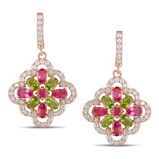 Miadora Rose Goldplated Silver 6ct TGW Gemstone Flower Earrings