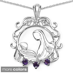 Sterling Silver Amethyst, Garnet or Tanzanite Mother's Necklace