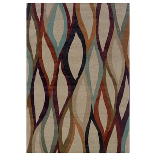 Abstract Grey/ Multi Area Rug (7'10 x 10'10)