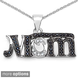 Sterling Silver Gemstone and Diamond Accent 'Mom' Necklace