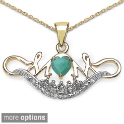 14k Gold over Silver Gemstone and White Topaz 'Mom' Necklace