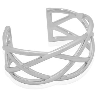 Gioelli Sterling Silver Smooth Open Weave Cuff Bracelet