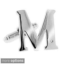 Moise Silvertone Men's Diamond Accent Alphabet Cuff Link