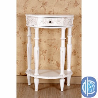 International Caravan Antique White Carved Hardwood Half Moon 2-tier Wall Table