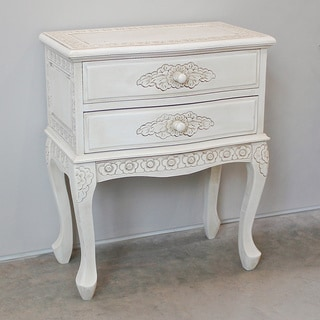 International Caravan Antique White Carved Hardwood 2-drawer End Table