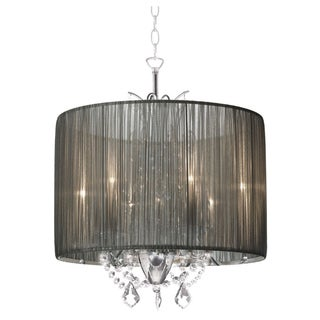 Alluring 3-light Chrome Crystal with Silver Taupe Shade Chandelier
