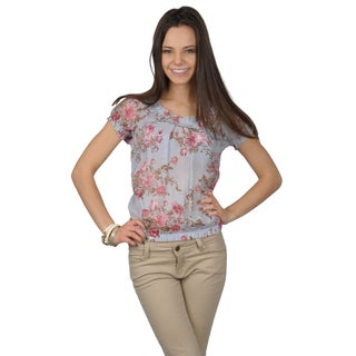 Hailey Jeans Co. Juniors Short Sleeve Scoop Neck Floral Print Top
