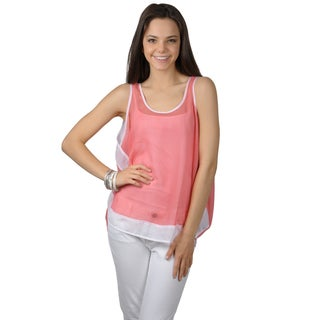 Journee Collection Women's Lightweight Sleeveless Color Blocked Top