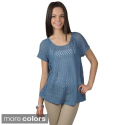 Journee Collection Women's Short-sleeve Scoop Neck Crochet Top