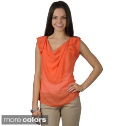 Journee Collection Women's Sheer Sleeveless Cowl Neck Top