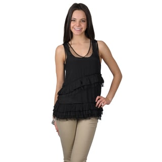 Journee Collection Women's Ruffled Lightweight V-Neck Sleeveless Top